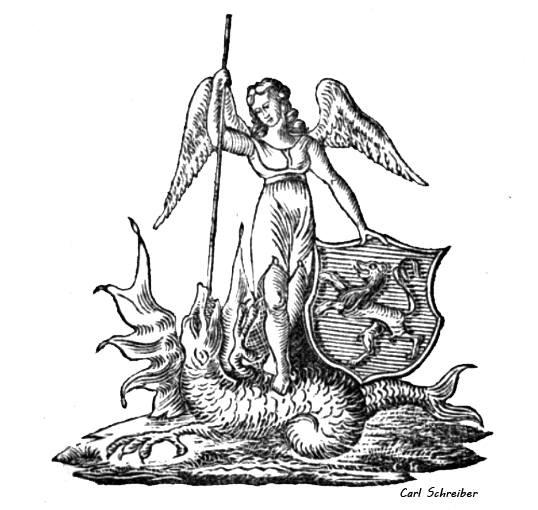 Interpretation des Jenaer Stadtlogos von 1850. Mit Drachentöter Michael.